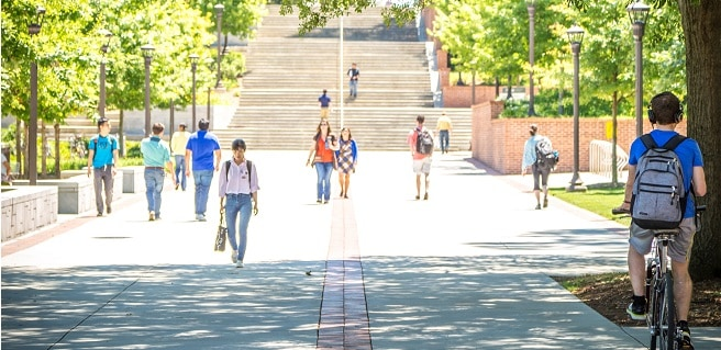college students walking to class at Georgia Tech