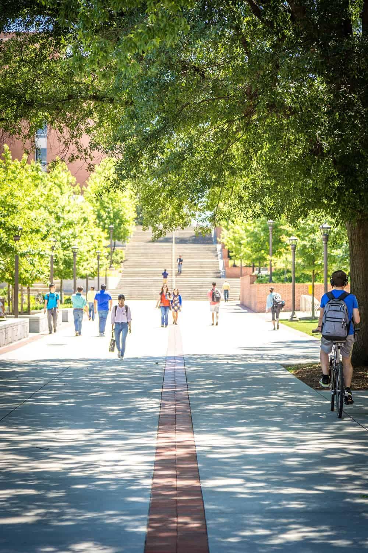 Students at Georgia Tech walking and biking to class