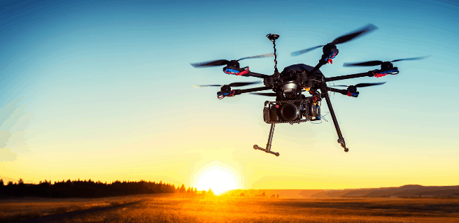 drone flying into sunset as example of real estate technology