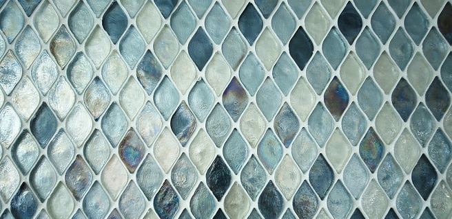 glass mosaic tile in shades of blues and greens