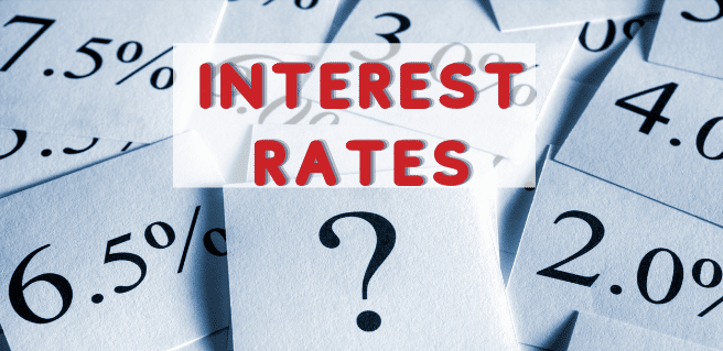 Interest Rates image with numbers and words