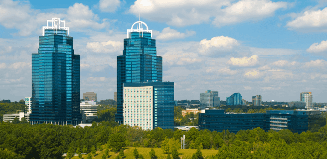 The King and Queen buildings located in Sandy Springs, GA as seen from I-285