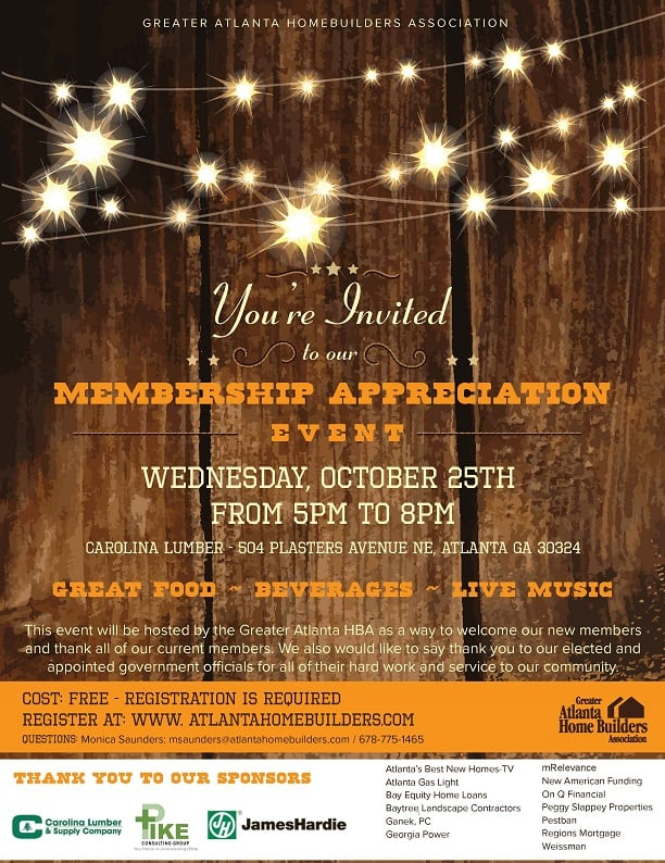Greater Atlanta HBA Hosting Membership Appreciation Event