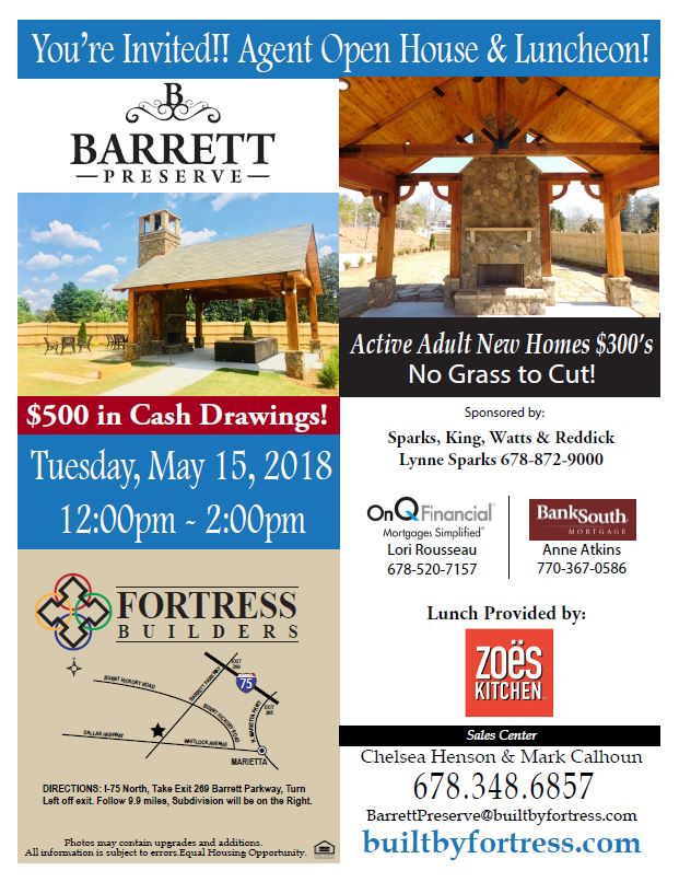 Fortress Builders to Host Agent Lunch at Active-Adult Marietta Community