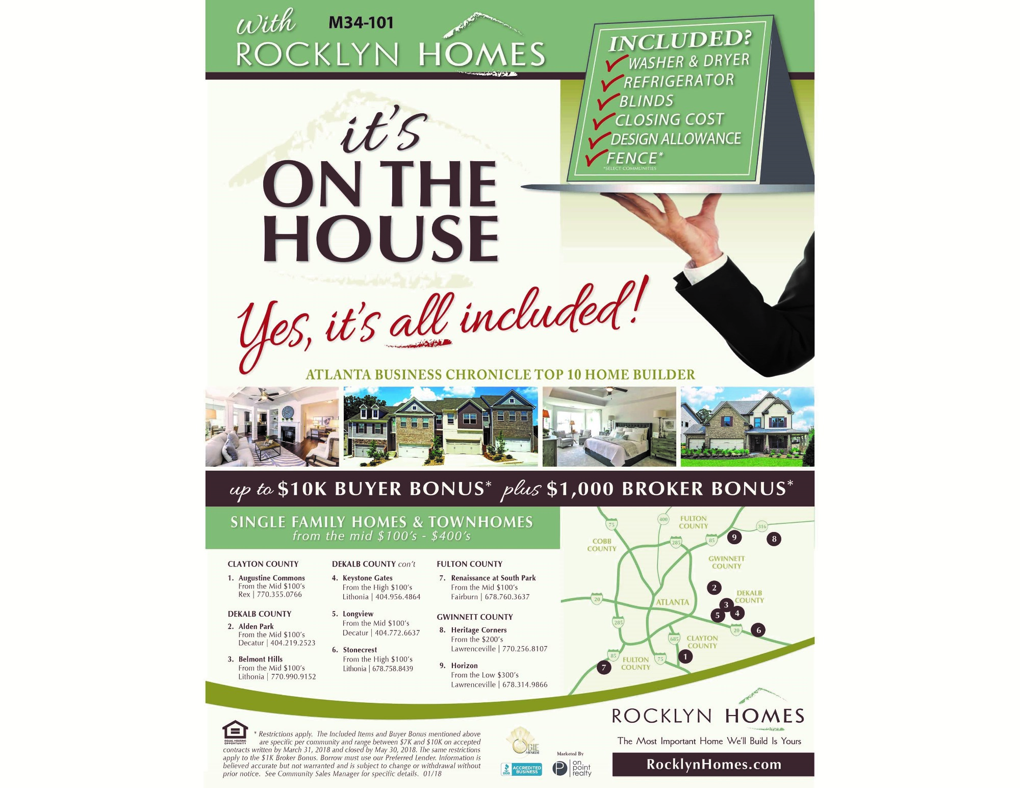 Rocklyn Homes Wins Gold OBIE for Best Flyer/Mailer
