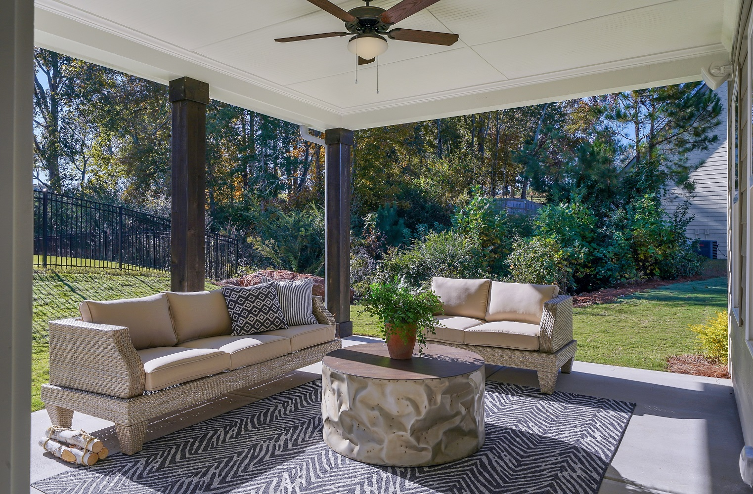 outdoor living at the new model home in Cumming