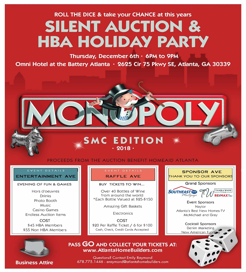 Pass Go and Attend the SMC Silent Auction and Holiday Party