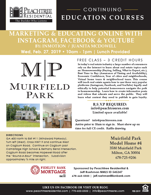 Don't Miss Upcoming Free CE Class at Muirfield Park in Milton
