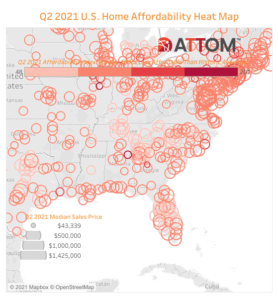home affordability heat map from ATTOM
