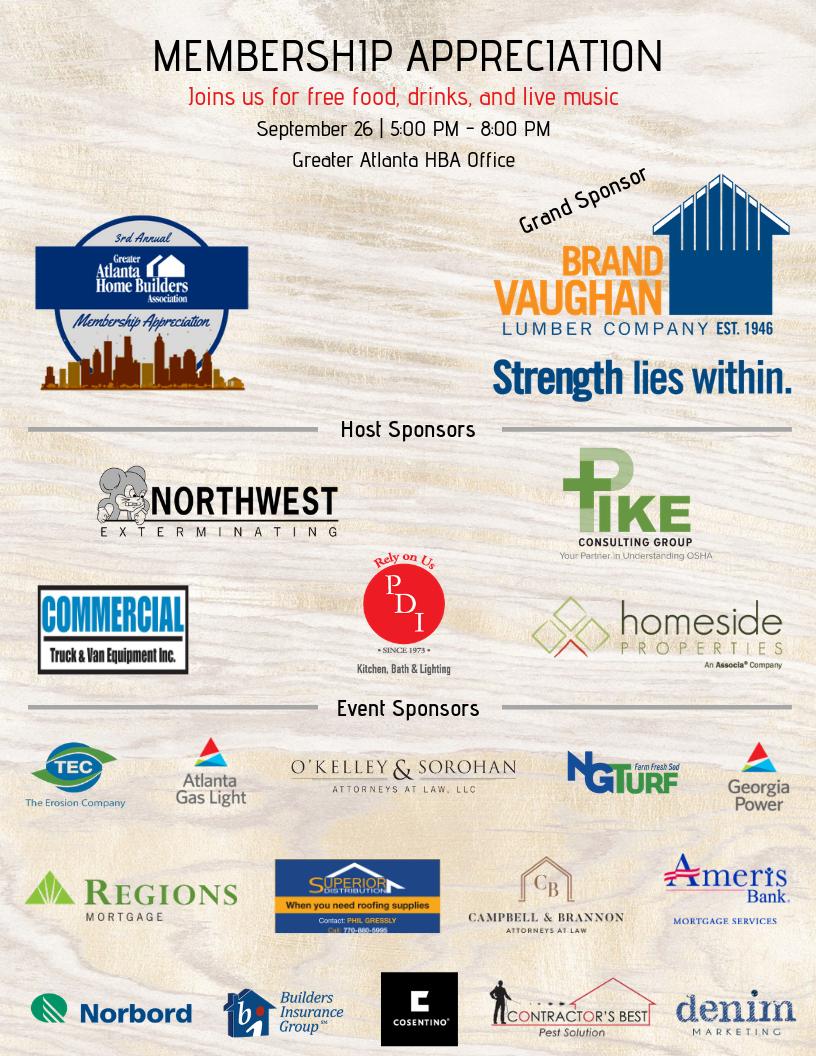 Greater Atlanta HBA to Host 3rd Annual Membership Appreciation Event