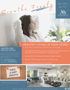 Breathe Freely with an Artisan Built Home flyer