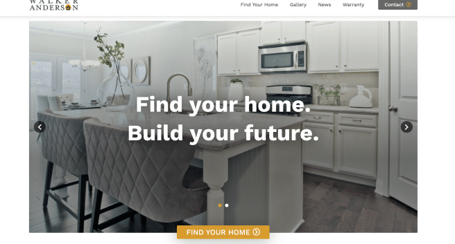 photo of front page of new WalkerAndersonHomes.com page