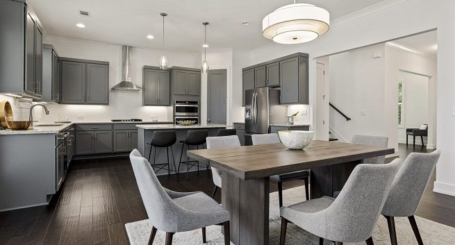 kitchen and dining at The Enclave at Belvedere model home