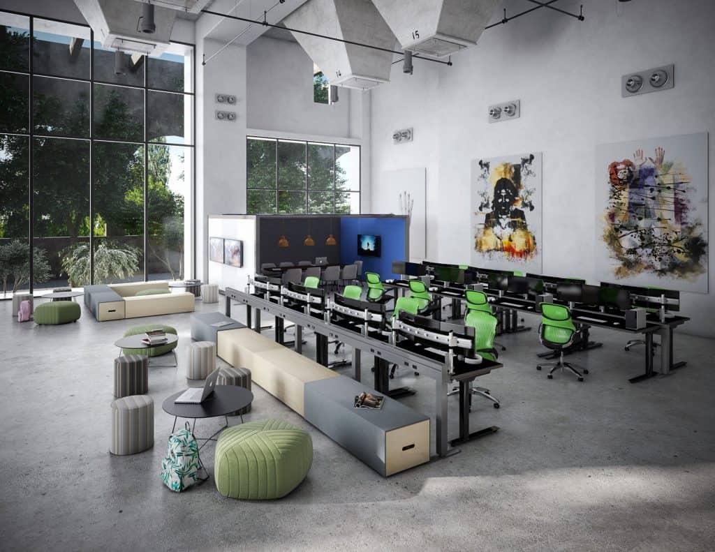 Hybrid workspace and desk