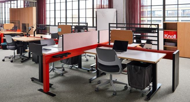 flexible interior design solutions and hybrid work spaces -- media room and desk