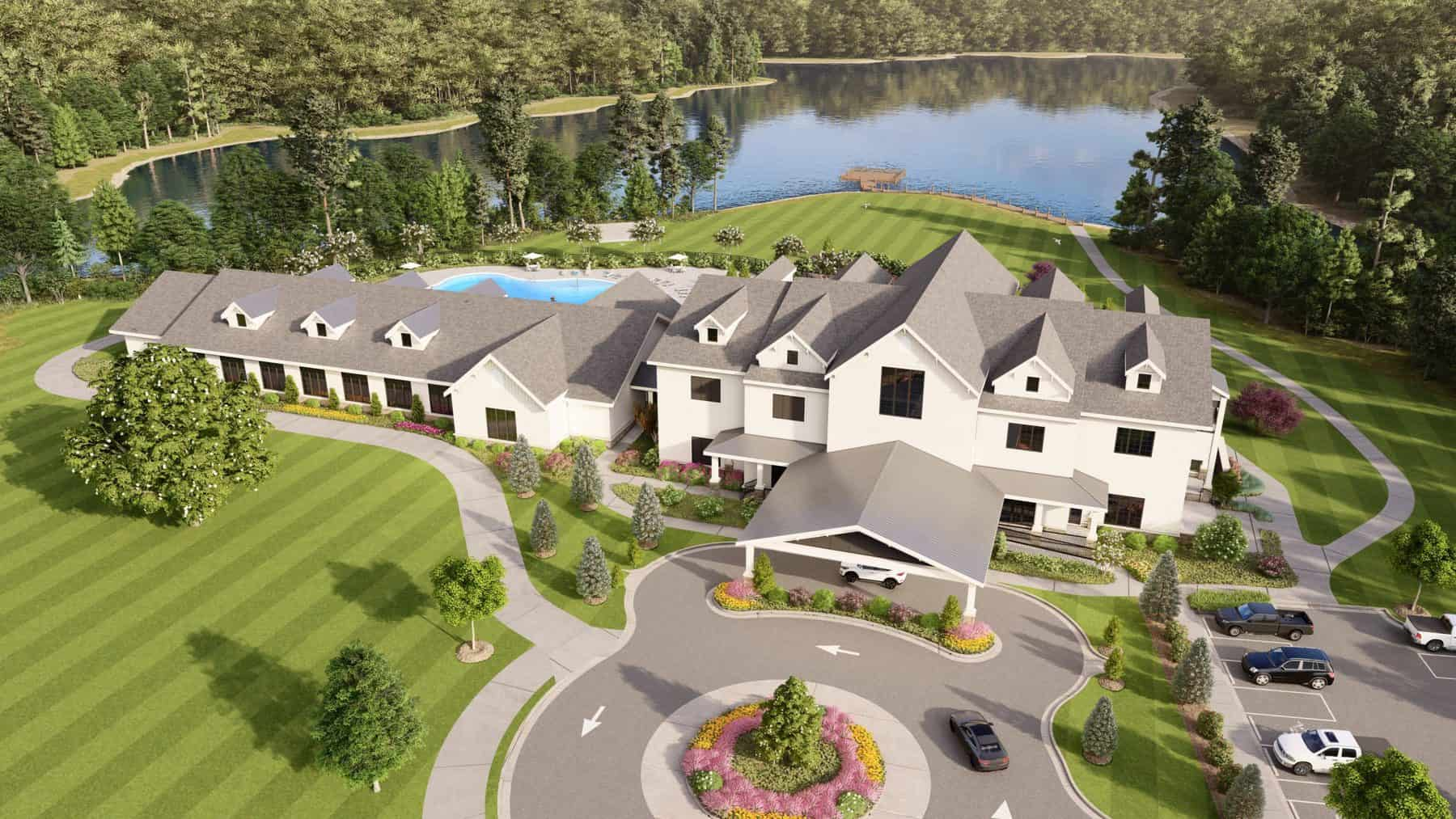 cresswind georgia at twin lakes clubhouse rendering aerial lakeview