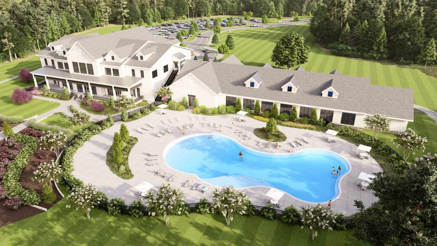cresswind georgia at twin lakes clubhouse rendering pool view