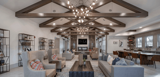 interior club amenity at olea at nocatee designed by crosby design group