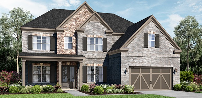 final new johns creek homes at camden hall front exterior rendering