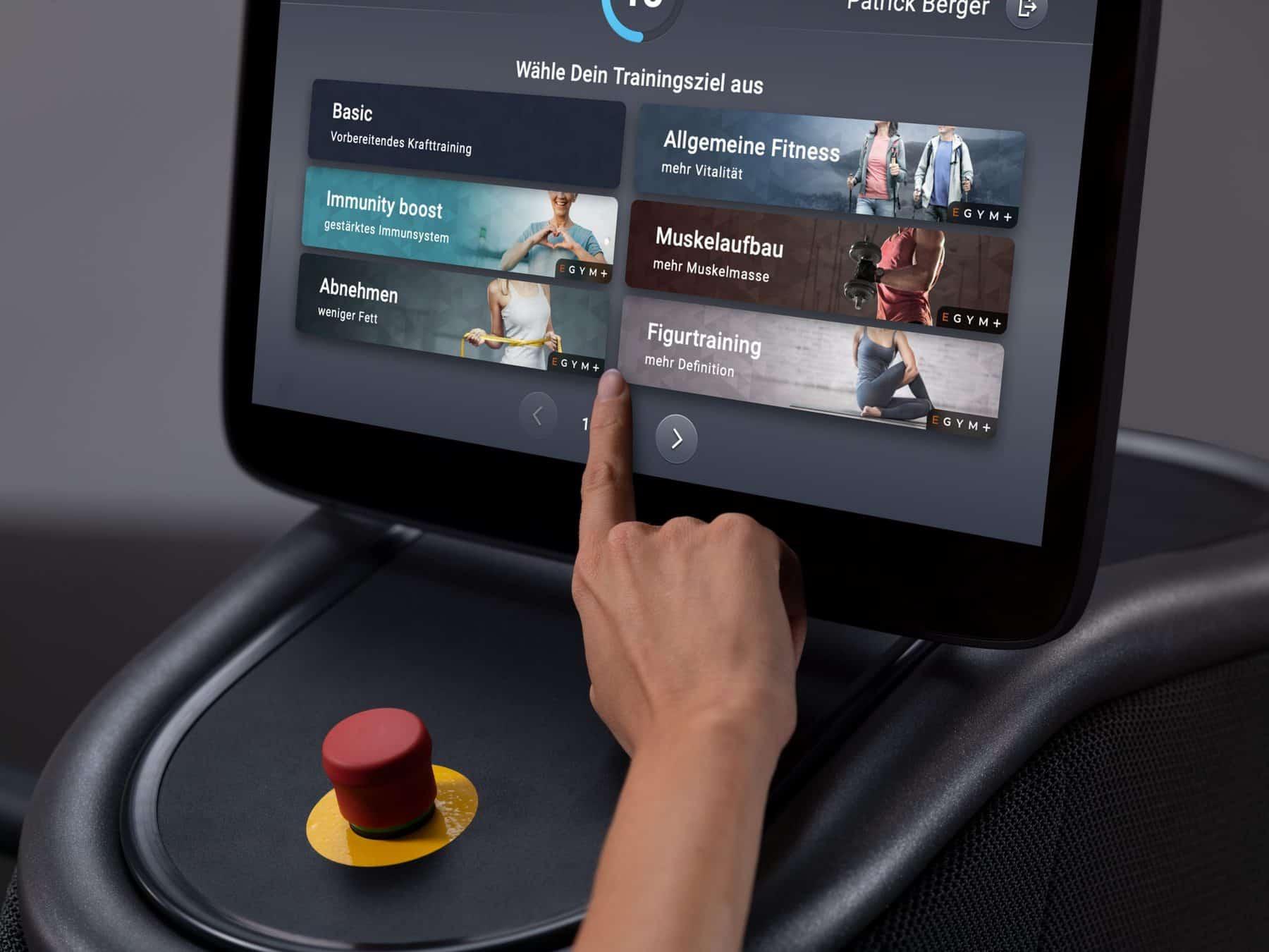 screen demo of EGYM strength training machine