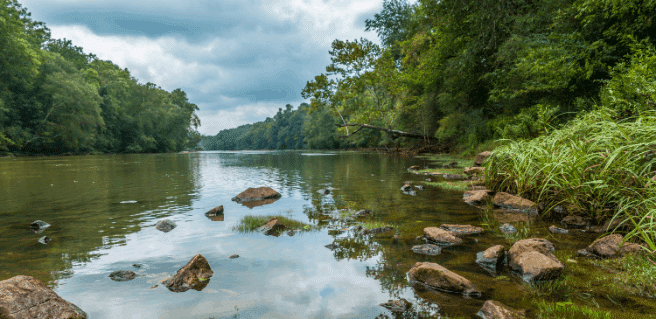 river-front view of chattahoochee river at waterside new peachtree corners community