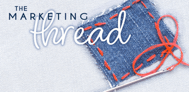 the marketing thread graphic with blue jean pocket and red thread accent