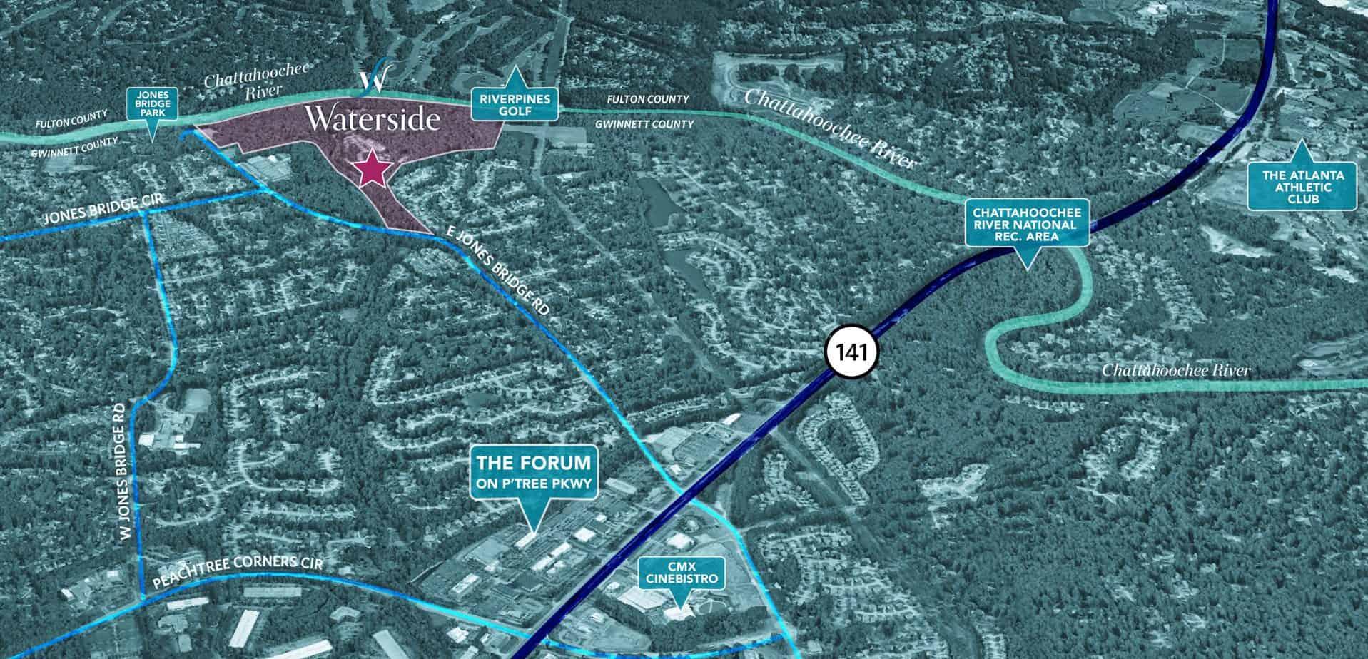 aerial map view of waterside in peachtree corners