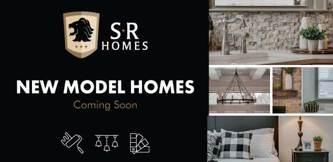 """image showing college of common living spaces in model homes on the right and """"model homes coming soon"""" text to the left"""