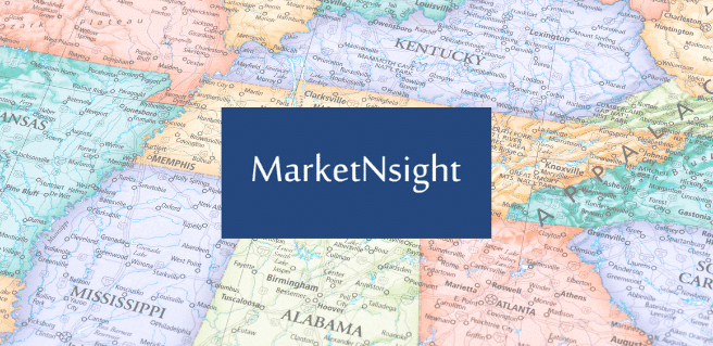 map of Southeastern United States to show MarketNsight's new service areas