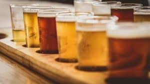 flight of beer glasses for beer tasting at Suwanee Breweries