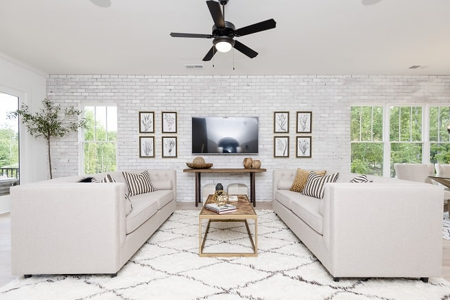 Living Room of Siciliy Plan decorated in white furniture