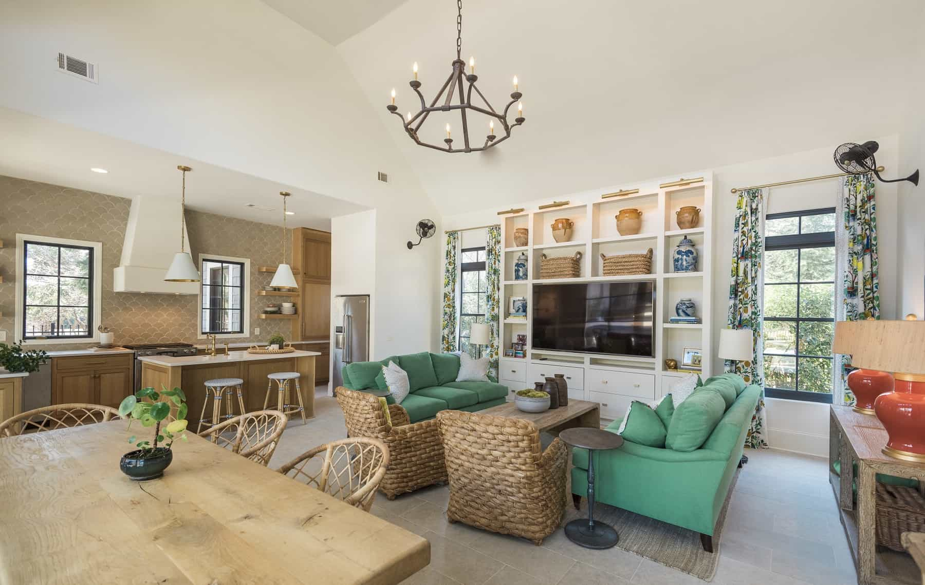 custom pool house living area by Womack Custom Homes