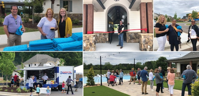 collage of four photos from the soft opening of the amenities at Montebello in Cumming