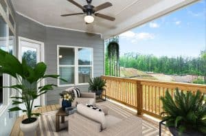 Outdoor covered porch with large fan