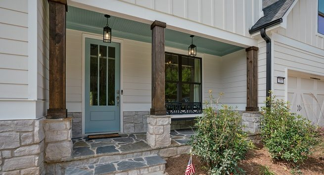 Stone Front Porch with rustic columns
