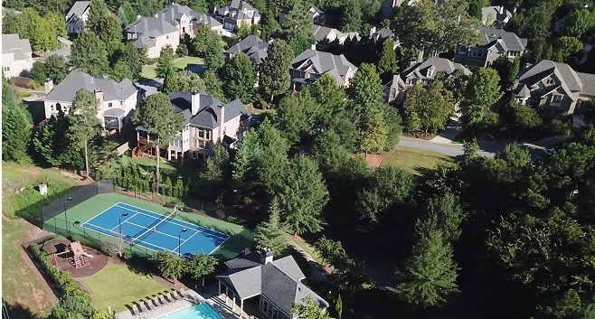 aerial view of amenities at Tanglewood in East Cobb