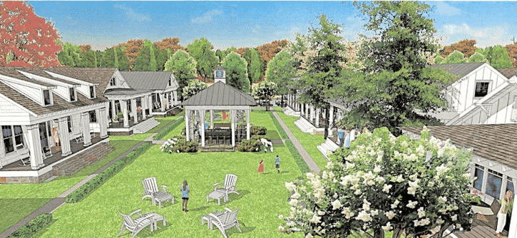 Illustration of streetscape of Clarkston Cottages at Parkhaven