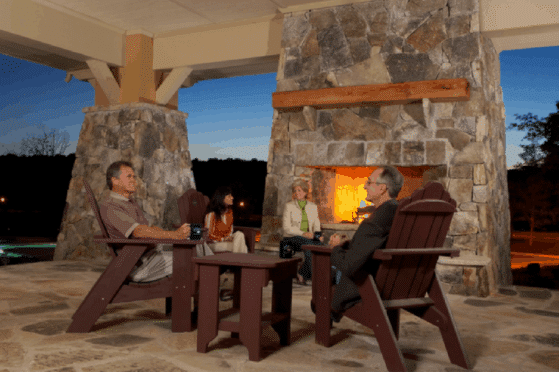 outdoor fireplace at sterling on the lake