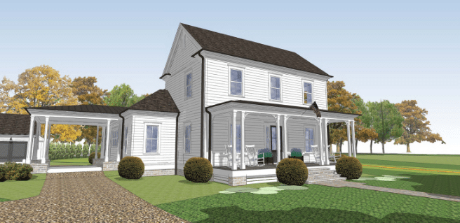Digital illustration of the Crossroads at Birmingham model home located in Milton by Southwyck Homes.