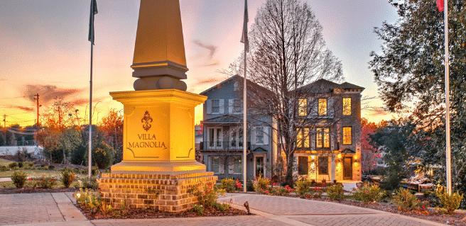 Photo depicting the Villa Magnolia community at twilight.