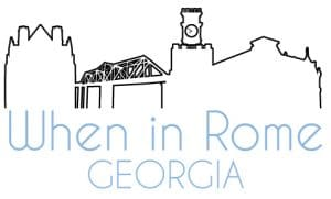 When In Rome, Georgia blog graphic depicting the skyline of Rome, Georgia and advertising the blog