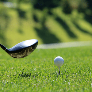 Photo of golf ball and club
