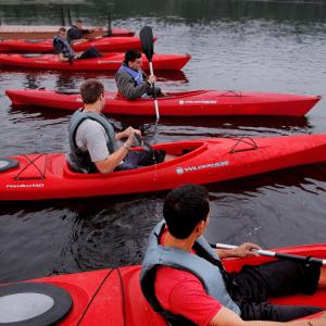 Photo of a group kayaking