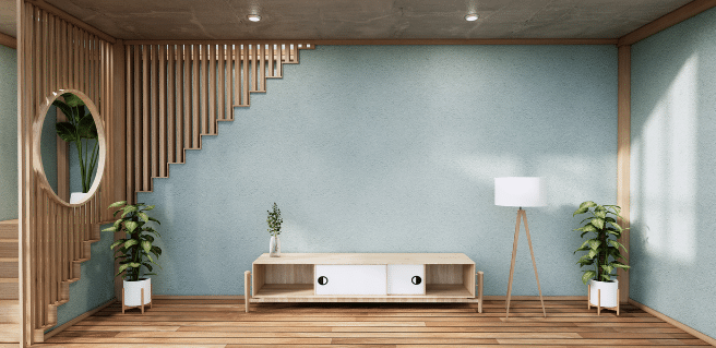 photo of a living room featuring breezeway the color of the year for 2022