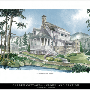 an artistic rendering of the show cottage at cloudland station