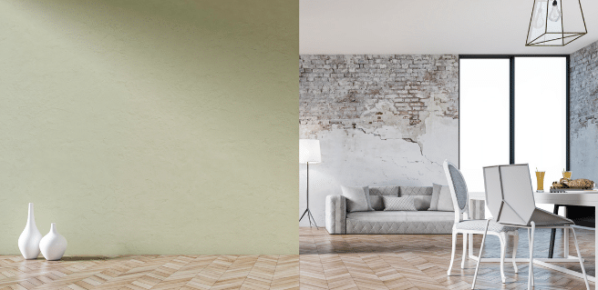 a green accent wall in a living room with stone accents for celebrate the color of the year