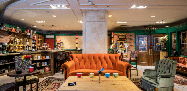 photo of the famous orange sofa from the friends experience