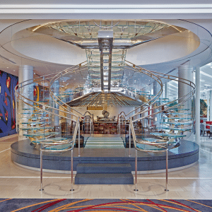 photo of the interior of the indigo hotel staircase in downtown atlanta designed by portman architects