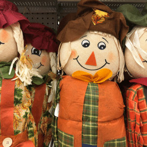 photo of scarecrows to advertise the scarecrow invasion in woodstock near southwyck homes the artisan at victory