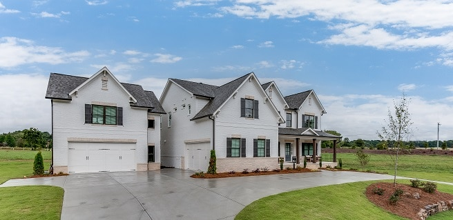 front exterior of new Rosewood model at Stonewood in Watkinsville